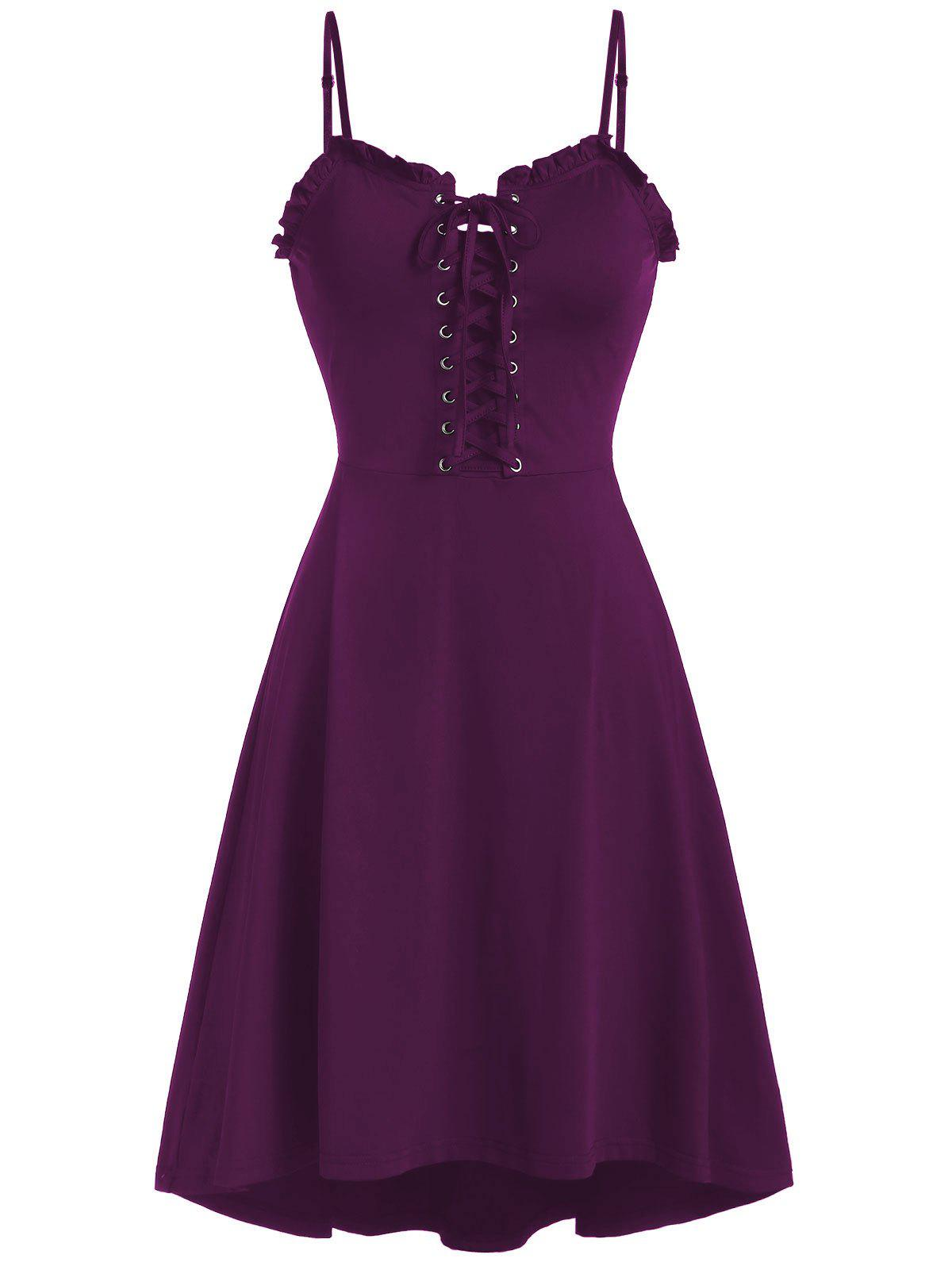 New Spaghetti Strap Lace Up Fit and Flare Dress