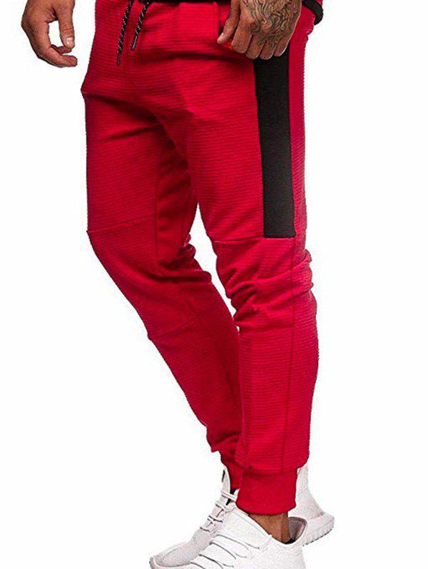 Pantalon de Jogging Jointif en Blocs de Couleurs à Cordon Rouge M