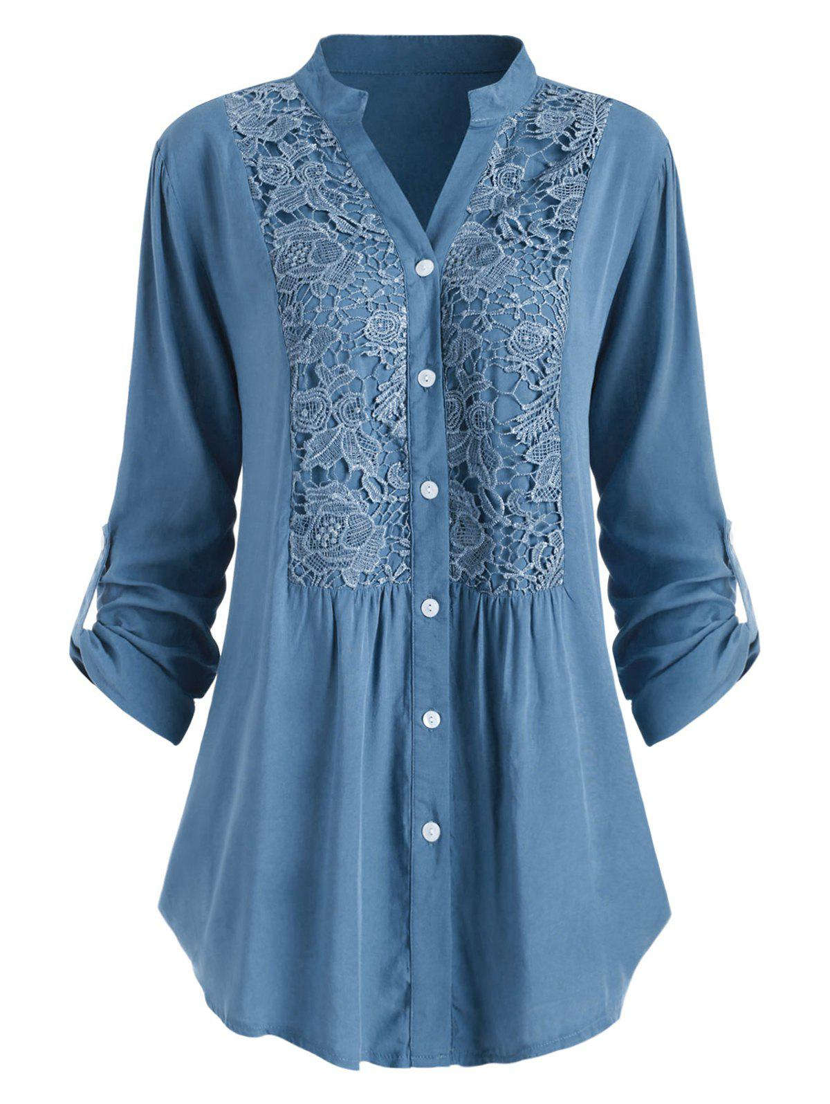 Shop Plus Size Roll Up Sleeve Lace Crochet Shirt
