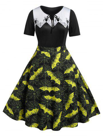Plus Size Bat Spider Web Print Vintage Halloween Dress
