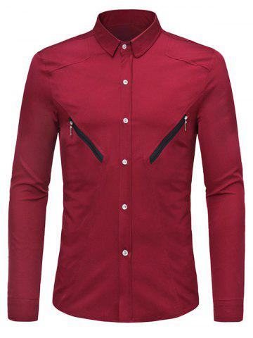 Solid Color Zipper Decoration Long-sleeved Shirt
