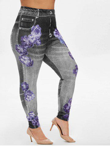 Plus Size High Rise Floral Gym Jeggings