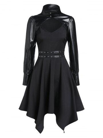 Asymmetrical Grommet Cami Dress and Crop Jacket Set
