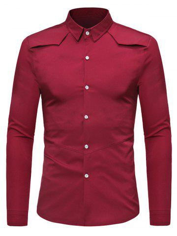 Solid Color Button Down Long-sleeved Base Shirt
