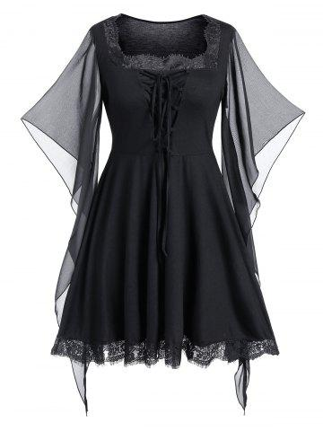 Plus Size Butterfly Print Lace Up Gothic Halloween Top - BLACK - L