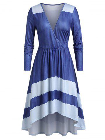 Plus Size High Low Surplice Plunge Long Sleeve Midi Dress - CORNFLOWER BLUE - M