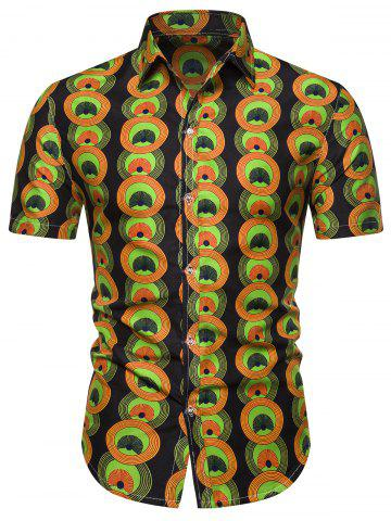Ethnic Round Graphic Button Down Shirt