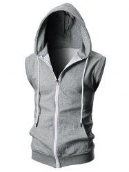 Solid Color Zipper Sport Sleeveless Hoodie -