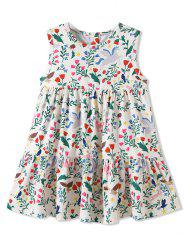 Girls Tiny Flower Ruffle Hem Sleeveless Dress -