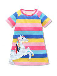 Girls Colorful Striped Horse Graphic Short Sleeve Dress -