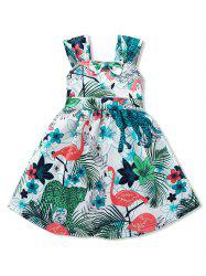 Girls Tropical Flamingo Print Bow Belted A Line Dress -