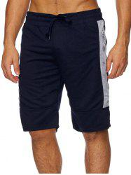 Color Block Splicing Zipper Sport Shorts -