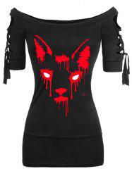 Plus Size Ladder Cut Off Shoulder Halloween Gothic Tee -