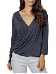 Low Cut Dip Hem Surplice T-shirt -