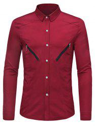 Solid Color Zipper Decoration Long-sleeved Shirt -