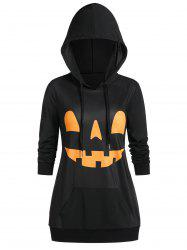 Halloween Pumpkin Print Long Sleeve Pocket Hoodie -