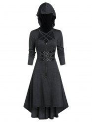 Hooded Strappy Lobster Buckle Strap High Low Gothic Dress -