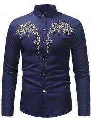 Embroidered Base Stand Collar Long-sleeved Shirt -