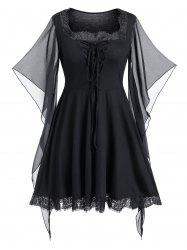 Plus Size Butterfly Print Lace Up Gothic Halloween Top -