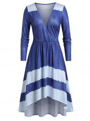 Plus Size High Low Surplice Plunge Long Sleeve Midi Dress -