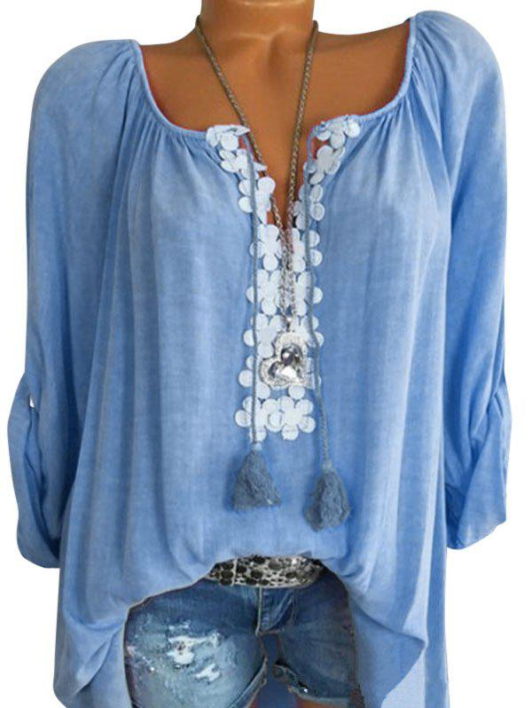 Plus Size Roll Up Sleeve Lace Crochet Peasant Blouse