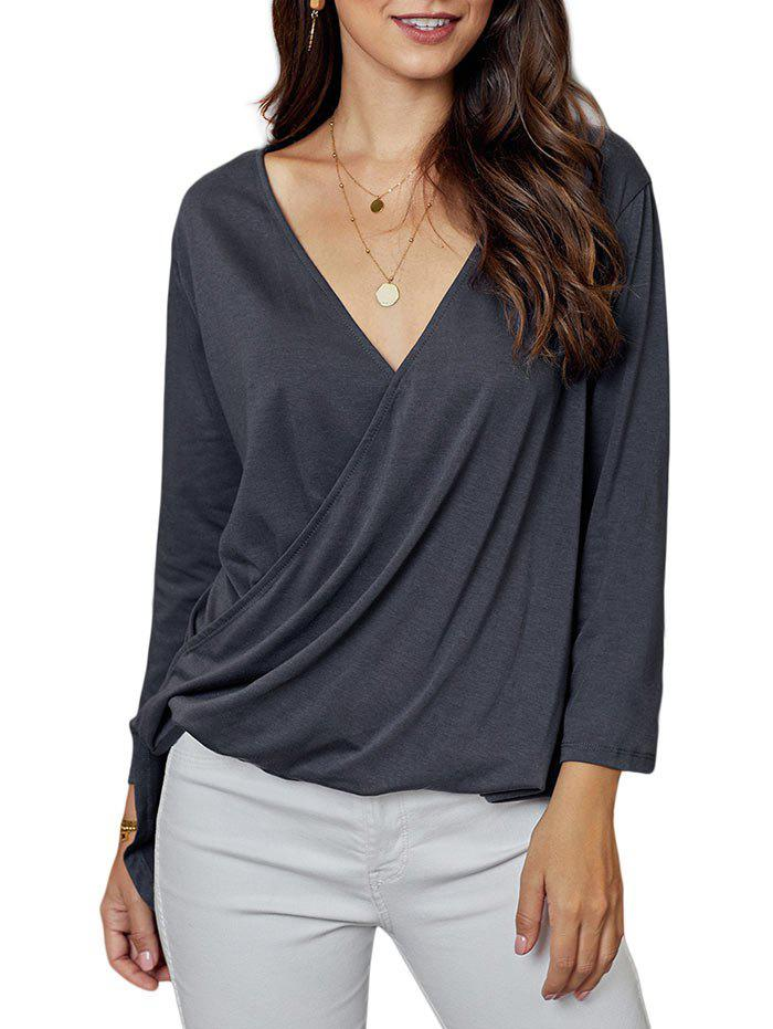 Discount Low Cut Dip Hem Surplice T-shirt