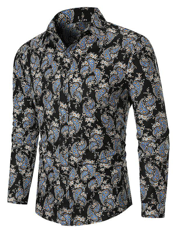 Affordable Allover Paisley Ditsy Print Long Sleeve Curved Hem Shirt