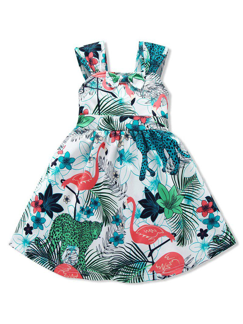 Discount Girls Tropical Flamingo Print Bow Belted A Line Dress