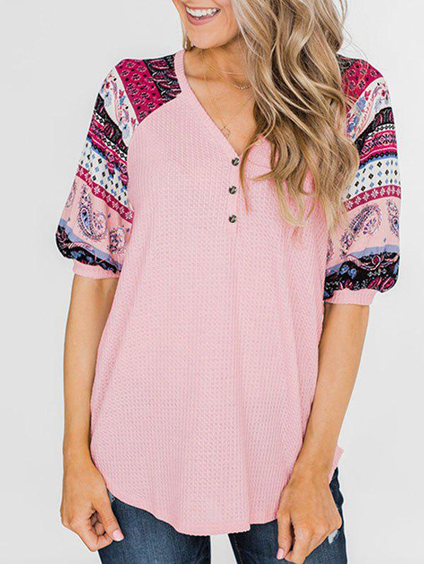 Affordable Floral Paisley Print Raglan Sleeve V Neck Knitwear