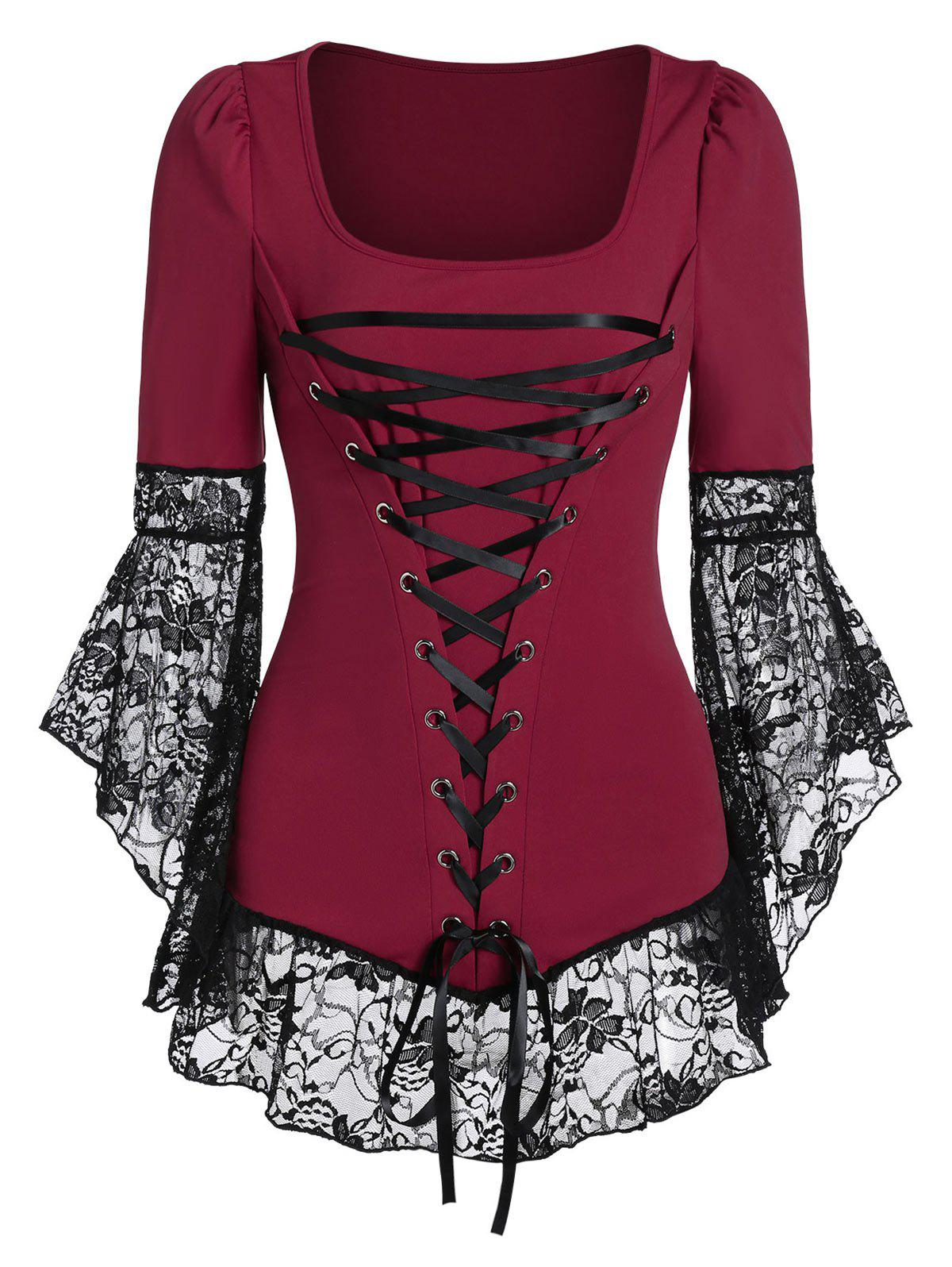 Best Lace Up Bell Sleeve Lace See Thru Tee