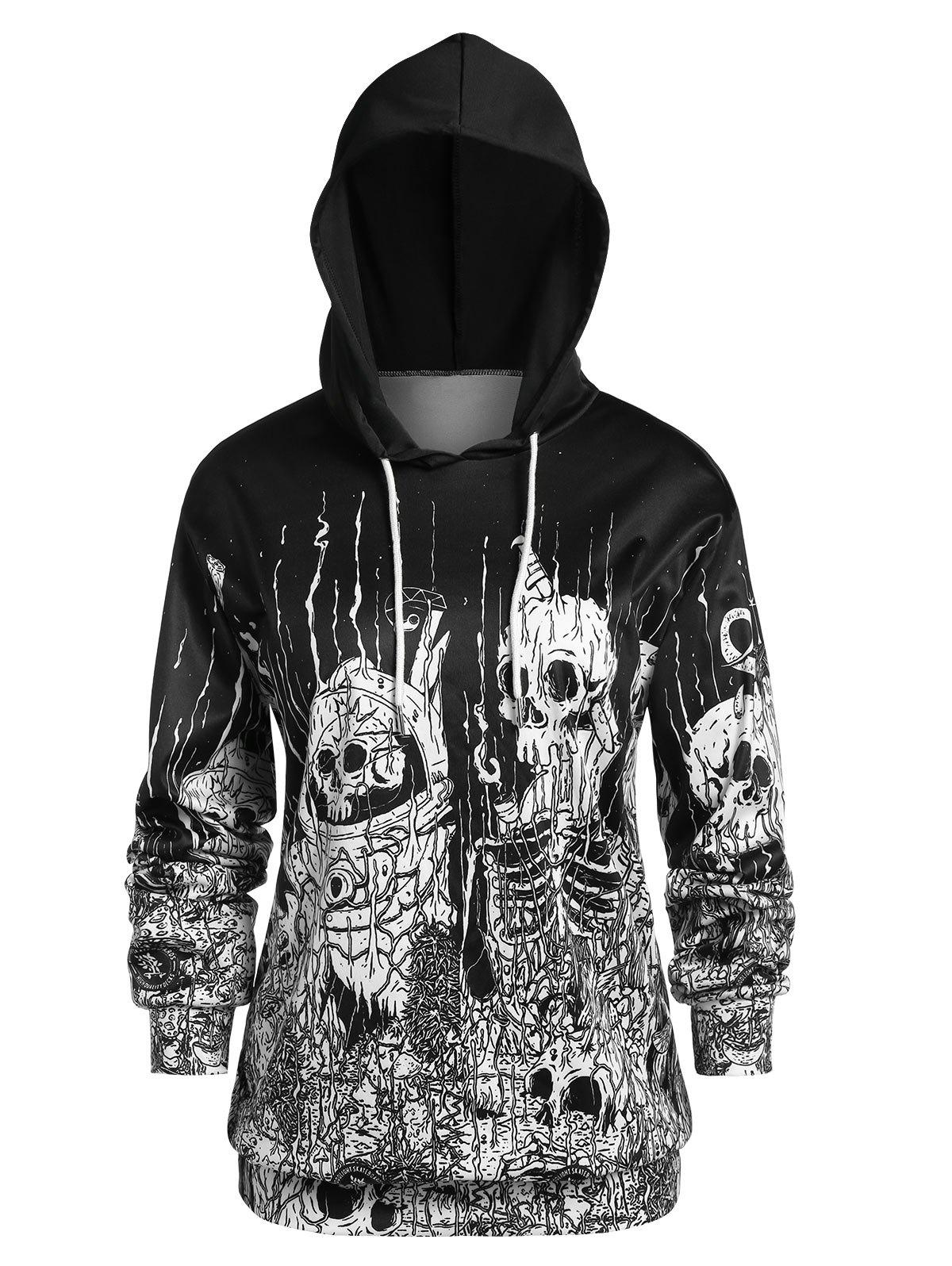 New Plus Size Long Sleeve Skull Print Hoodie