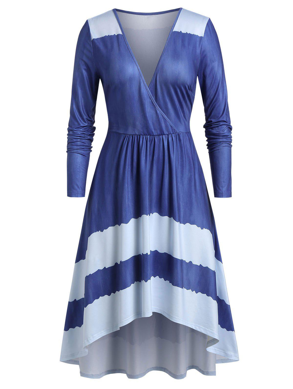 Trendy Plus Size High Low Surplice Plunge Long Sleeve Midi Dress