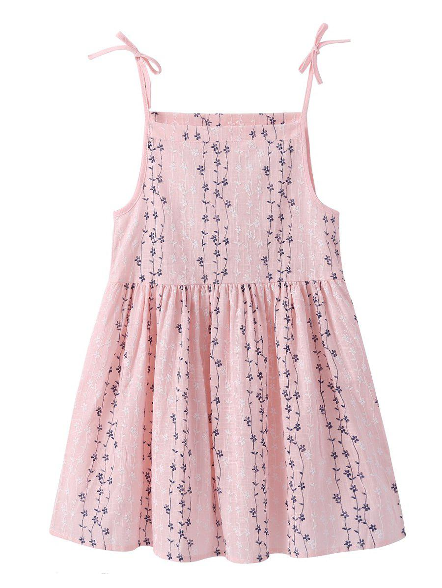 New Girls Floral Print Bowknot Cami A Line Dress
