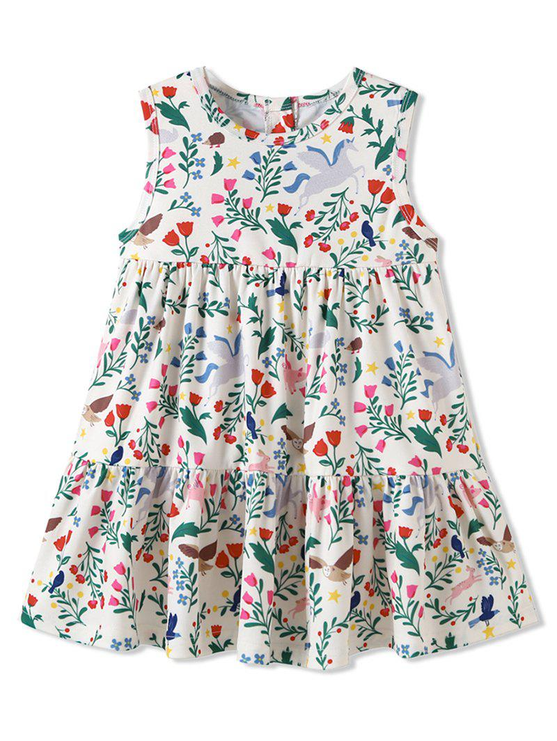 Chic Girls Tiny Flower Ruffle Hem Sleeveless Dress