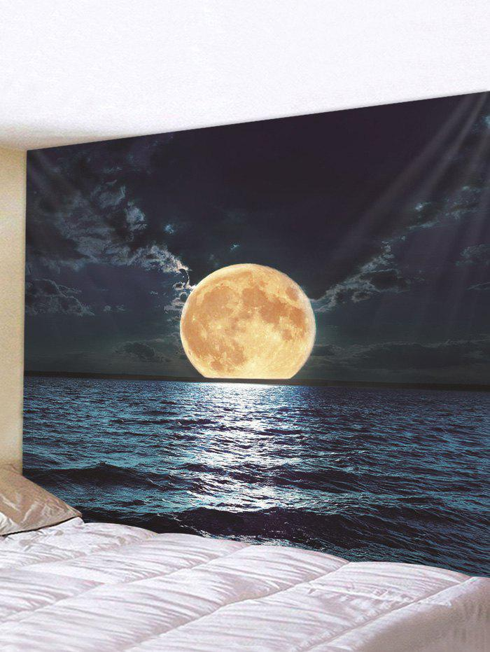 Affordable Moon Night Ocean Print Tapestry Wall Hanging Art Decoration