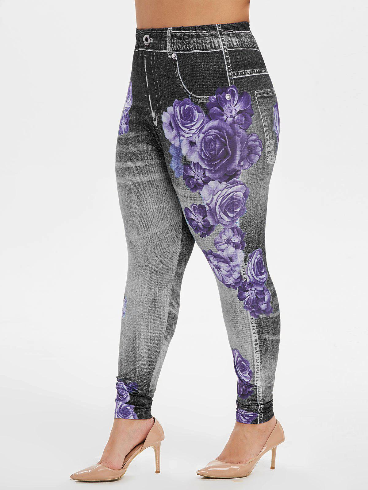 Hot Plus Size High Rise Floral Gym Jeggings