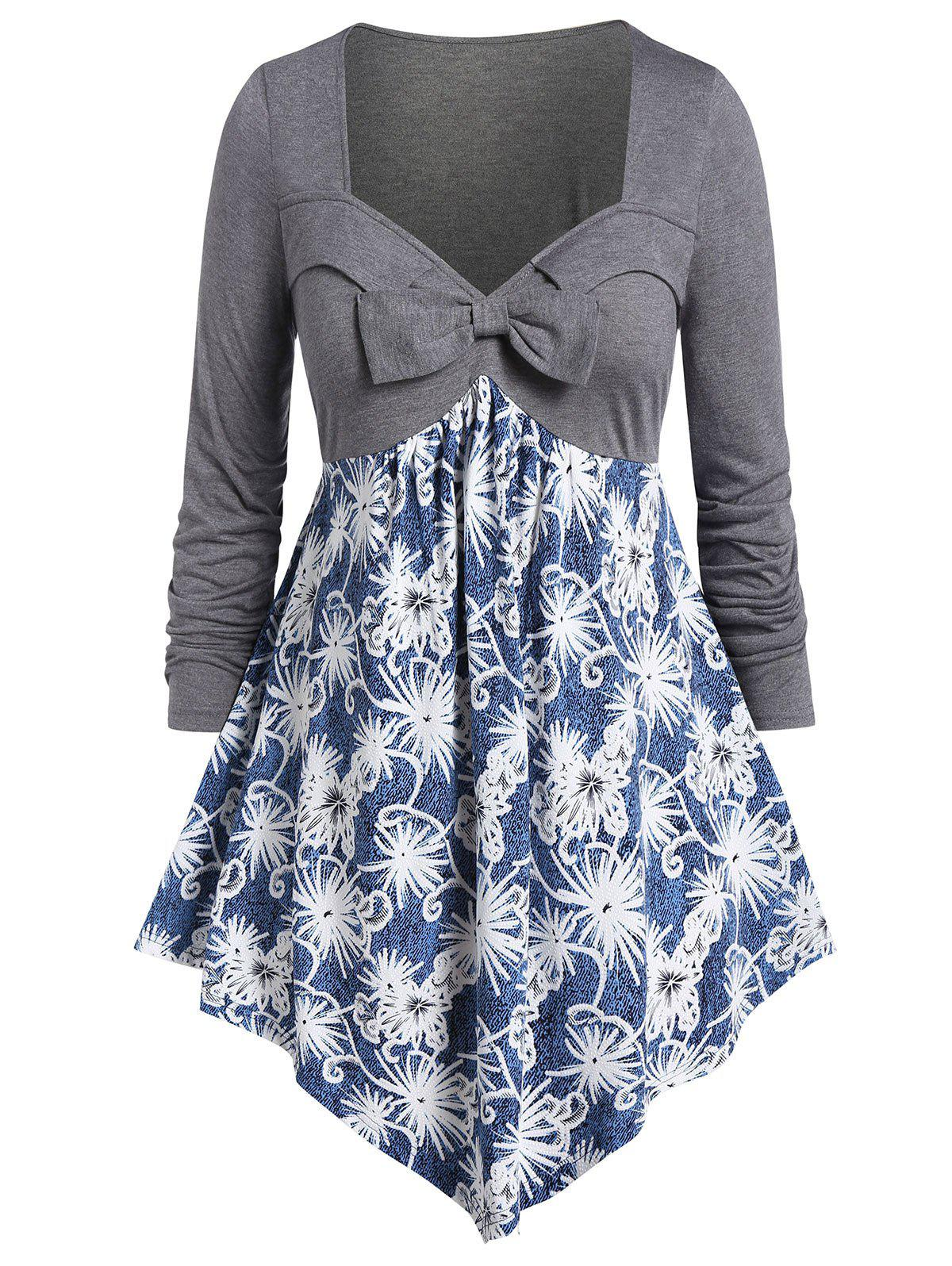 Store Plus Size Bowknot Ditsy Print Sweetheart Neck T Shirt