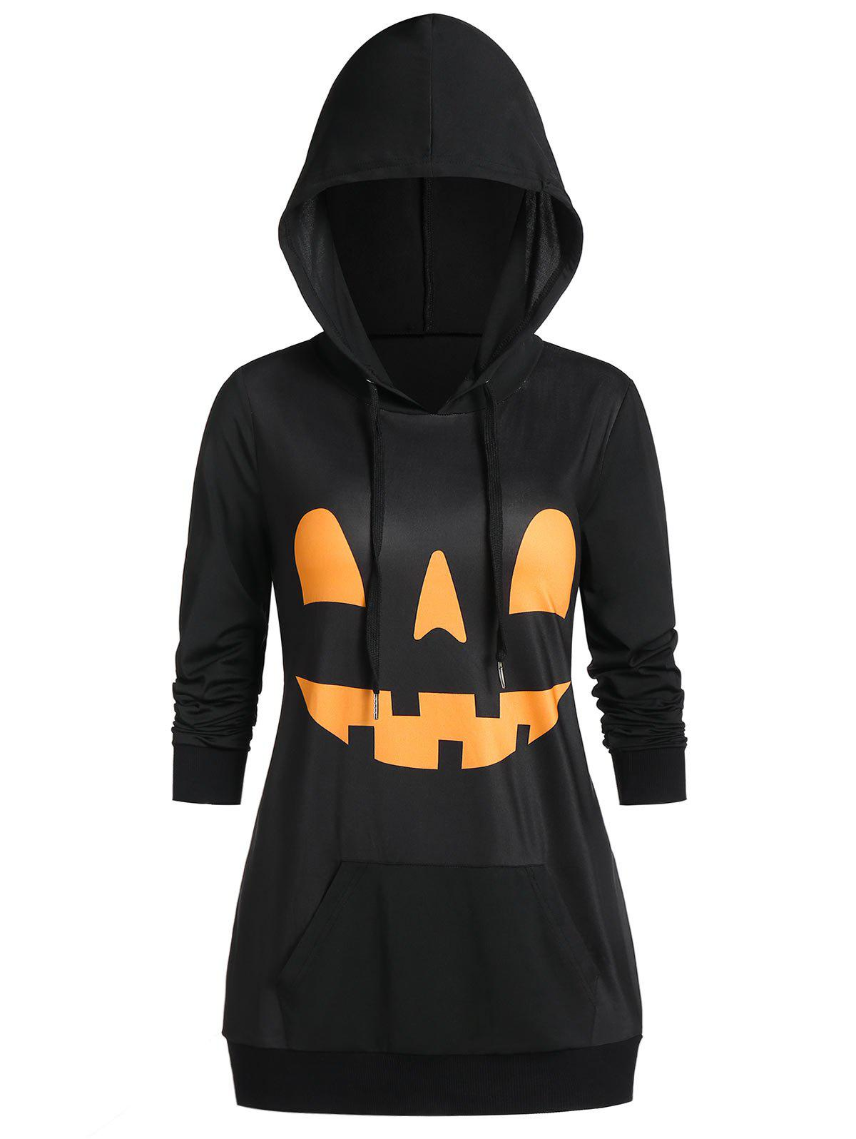 Fashion Halloween Pumpkin Print Long Sleeve Pocket Hoodie