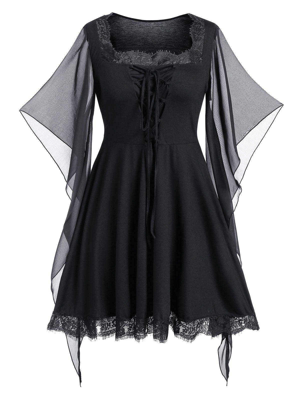 Cheap Plus Size Butterfly Print Lace Up Gothic Halloween Top