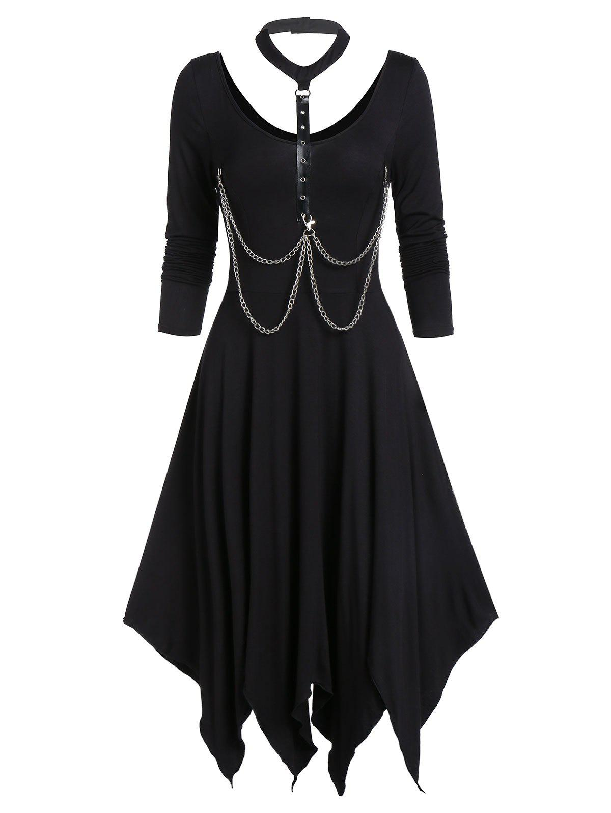 Unique Asymmetrical Choker Chains Long Sleeve Dress