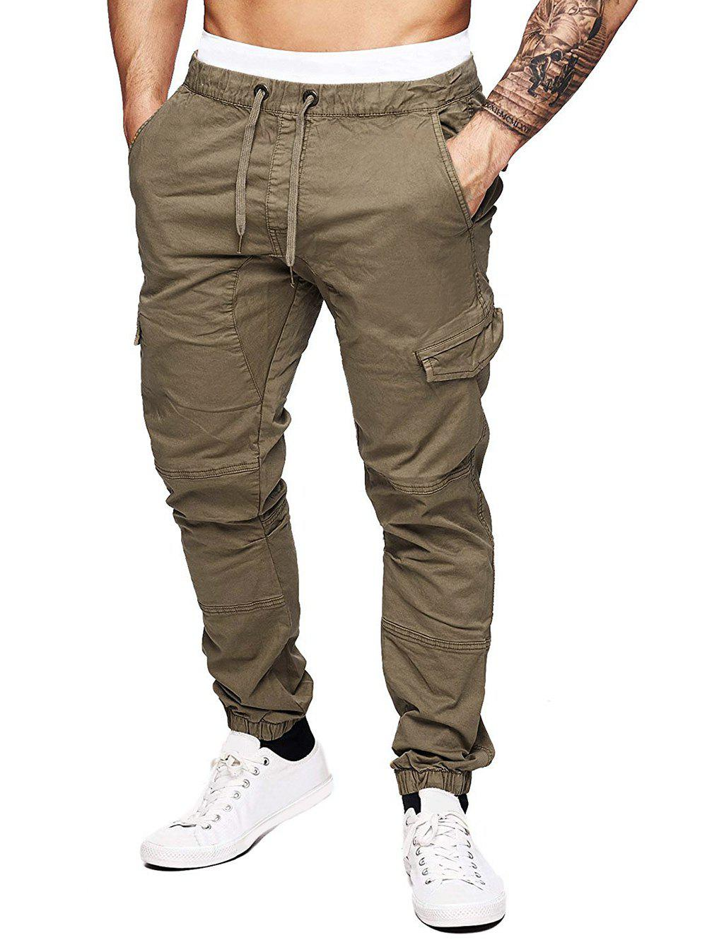 Chic Solid Color Splicing Faux Back Pocket Casual Jogger Pants