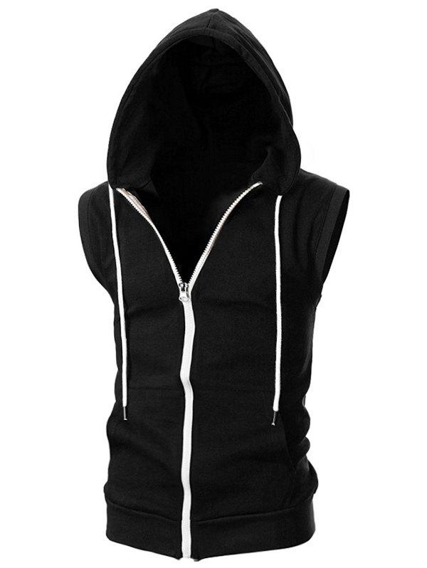 Online Solid Color Zipper Sport Sleeveless Hoodie