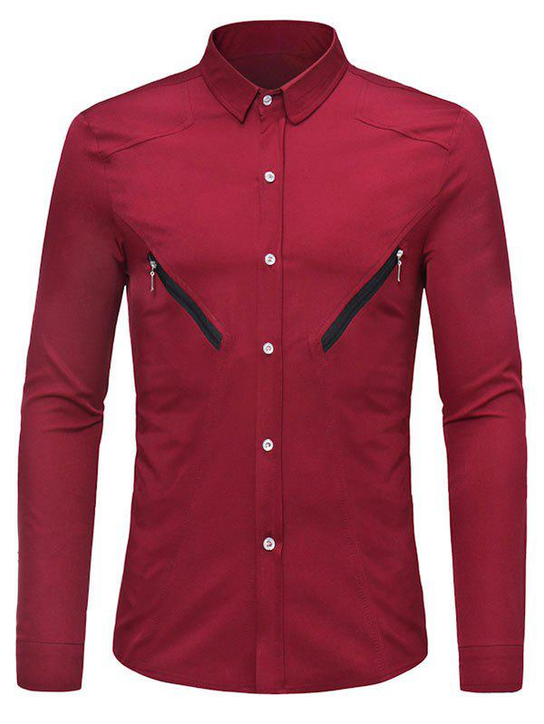 Discount Solid Color Zipper Decoration Long-sleeved Shirt