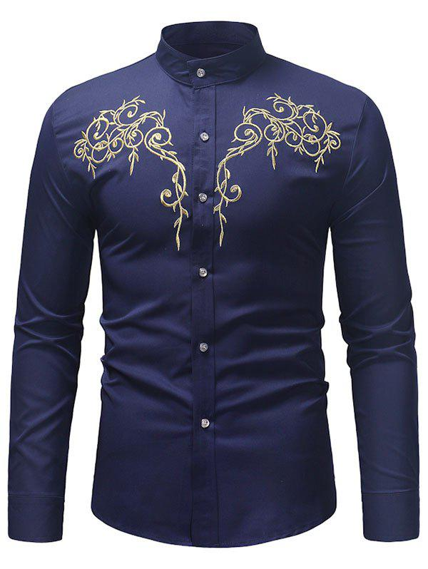 Affordable Embroidered Base Stand Collar Long-sleeved Shirt