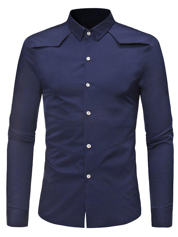 Fashion Solid Color Button Down Long-sleeved Base Shirt