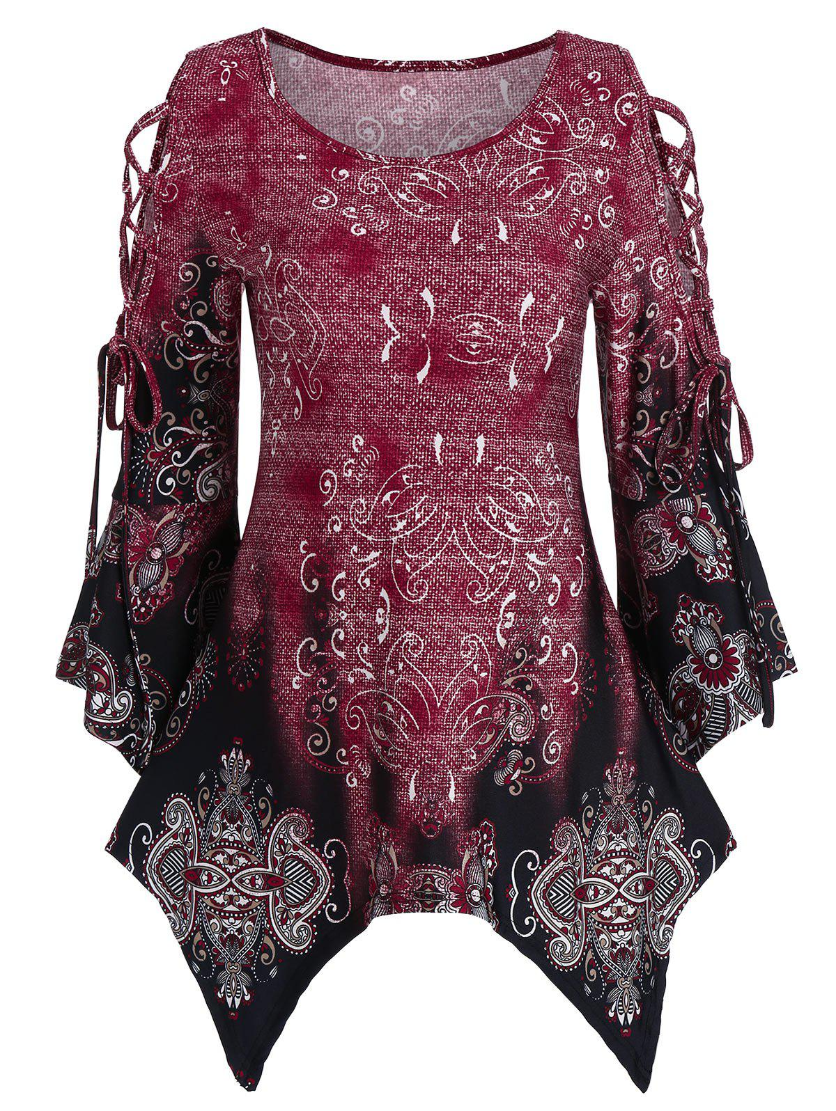 Fancy Lace Up Printed Asymmetrical T Shirt