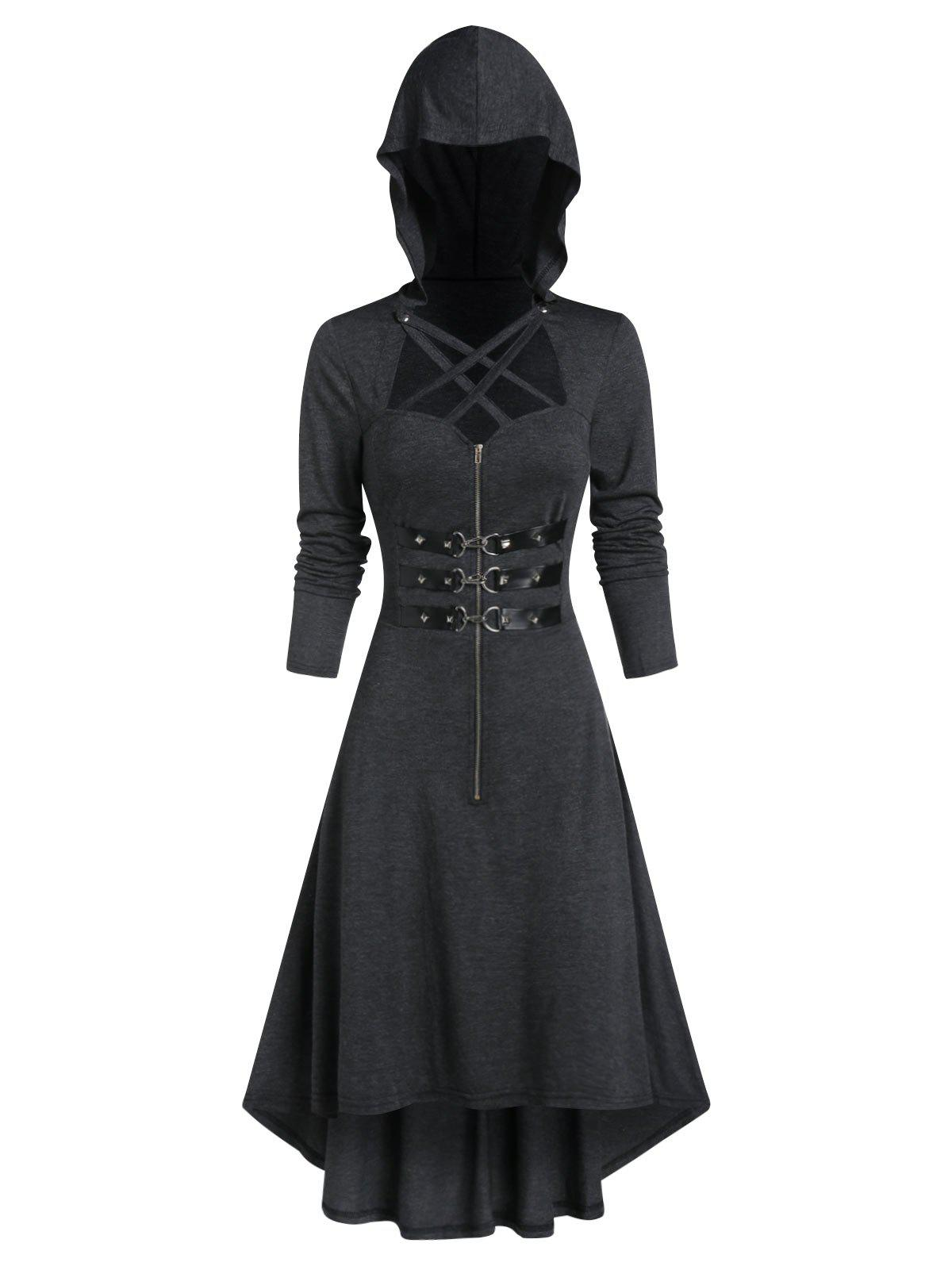 Fashion Hooded Strappy Lobster Buckle Strap High Low Gothic Dress