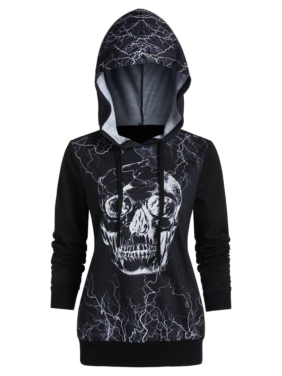 Outfits Skull Print Long Sleeve Tunic Hoodie