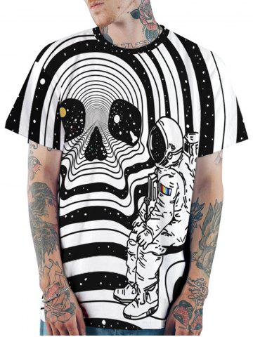 Astronaut Skull Print Short Sleeves T-shirt