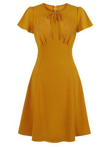Tie Ruched Keyhole Dress